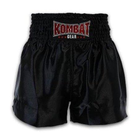 Kombat Muay Thai Boxing Training Black Satin Shorts 2122 (XXL)