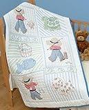 Bulk Buy: Jack Dempsey Stamped White Quilt Crib Top 40''X60'' Little Boy 4060 16 (2-Pack)