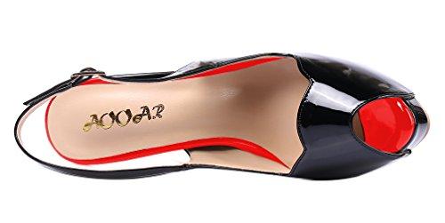 AOOAR - Plataforma Mujer Schwarz-Rot/Lackleder