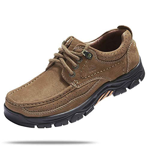 fers Slip-on Casual Leather Shoes Slip Resistance Walking Shoes for Driving Working,Brown,9.5 M US ()