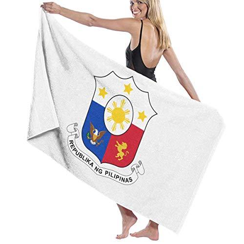 光沢幽霊汚いビーチバスタオル バスタオル フィリピン国旗の紋章 バスタオル 海水浴 旅行用タオル 多用途 おしゃれ White