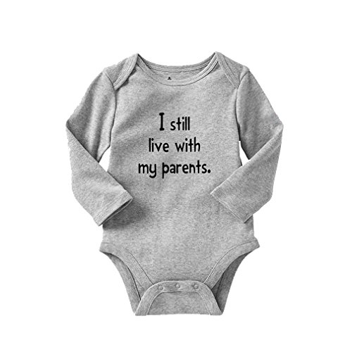 I Still Live with My Parents Style 1 Long Sleeve Baby Bodysuit One Piece Oxford Gray 6 -