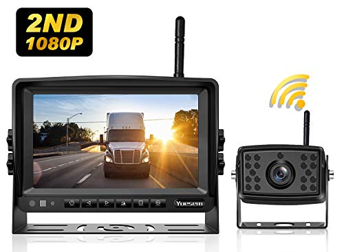 Yuesem 2nd 1080P Digital Wireless Backup Camera System Kit with 7'' Monitor,IP69 Waterproof,Guide Lines ON/Off,Rear View Reverse Camera for RV/Truck/Trailer/Pickups/Bus/Motorhome/Van/5th Wheels