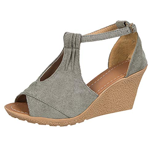CCFAMILY Women Ladies Fashion Wedges Buckle Peep Toe Big Size Casual Shoes Sandals Grey