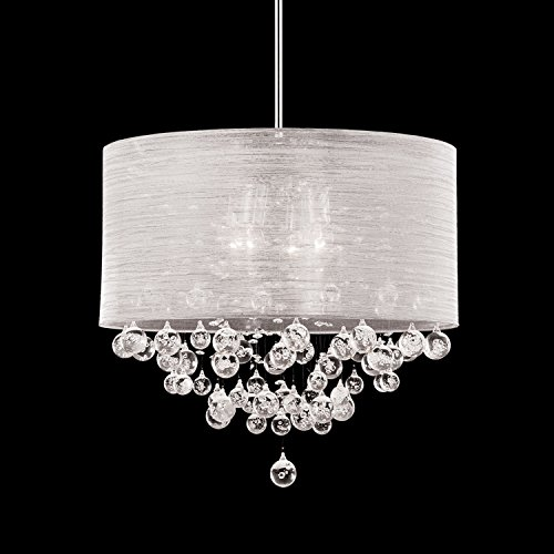 New 4 Lamp Chandelier Round Drum Shade Teardrop Crystal Chandelier Dia 20