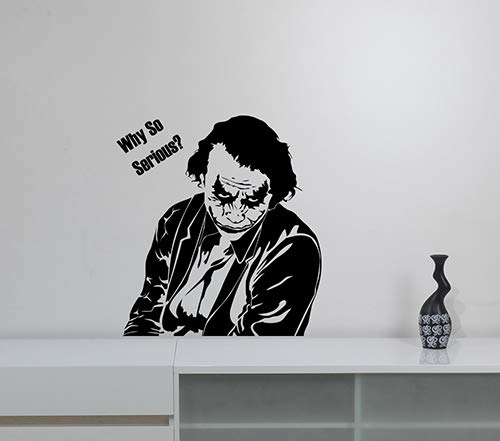 Why So Serious Joker Quote Vinyl Wall Sticker Decal Comics Art Super Hero Decorations for Home Housewares Living Kids Room Bedroom Office Decor Ideas -
