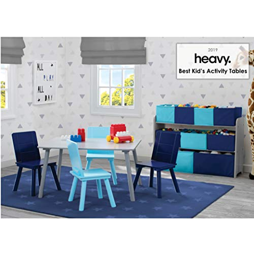 Delta Children Kids Table And Chair Set (4 Chairs Included) - Ideal For Arts & Crafts, Snack Time, Homeschooling, Homework & More, Grey/Blue