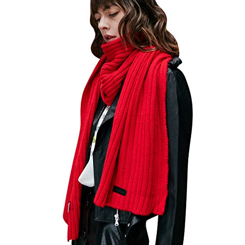 CACUSS Unisex Winter Long Thick Cable Knitted Scarf Soft Warm Scarves for Cold Weather (Red) (Knitted Scarf Long)