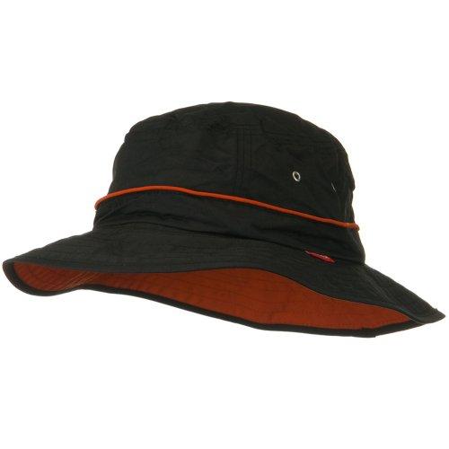 (UV 50+ Orange Piping Talson Sun Bucket Hat - Black)