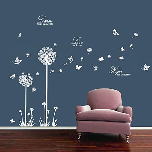decalmile Dandelion Wall Decals Butterflies Learn Live Hope Wall Stickers Quotes Living Room Bedroom Wall Decor (White) (Decals White Wall)