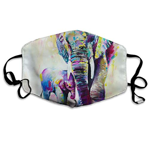GUHurieir Painted Elephants Anti Dust Half Face Mouth Cover Respirator Dustproof Anti-Bacterial Washable Reusable Comfy Germ Wind Protective Breath Windproof Mask ()