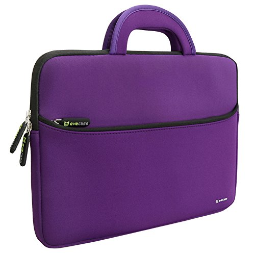 Evecase 13.3-14 inch Slim Portable Neoprene Carrying Laptop Sleeve Case Bag w/ Handles and Accessory Pocket (Purple with Black Trim) (Laptop Bag With Handle)