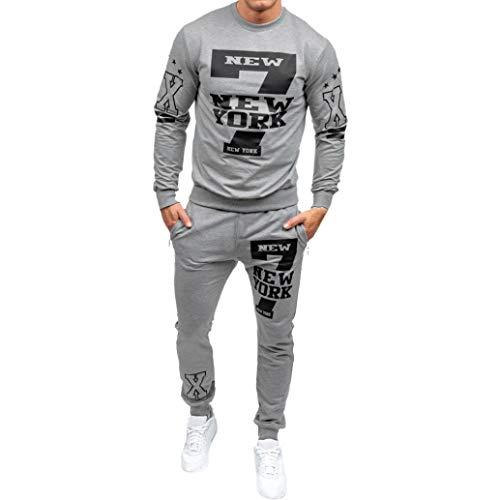 Men's Boys Sports Suit Tracksuit,Casual Slim Fit Printed Sweatsuit Pants Sets for Autumn Winter (Gray, Asian L) (Track Jacket Cashmere)