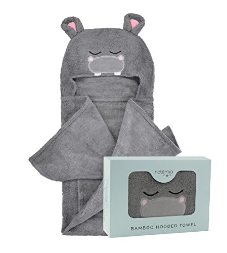 Natemia Extra Soft Rayon from Bamboo Hooded Towel for Kids | Highly Absorbent and Hypoallergenic | 40 X 30 Large Animal Face Baby Bath Towel | Great Baby Shower  Registry Gift for Boys and Girls