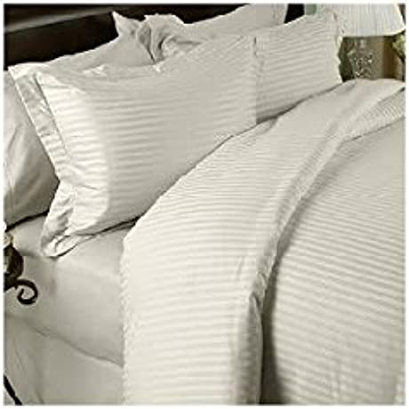 600 Thread Count King Siberian Goose Down Alternative Comforter 600FP 50oz With 100 Egyptian Cotton Stripe Damask Cover Cream Ivory Set Includes Bed Duvet Cover Sheet With TWO Shams Pillowcases Made Of 600 Thread Count 100 Long Staple Egyptian Giza Cotton With Swiss Sateen Finishing