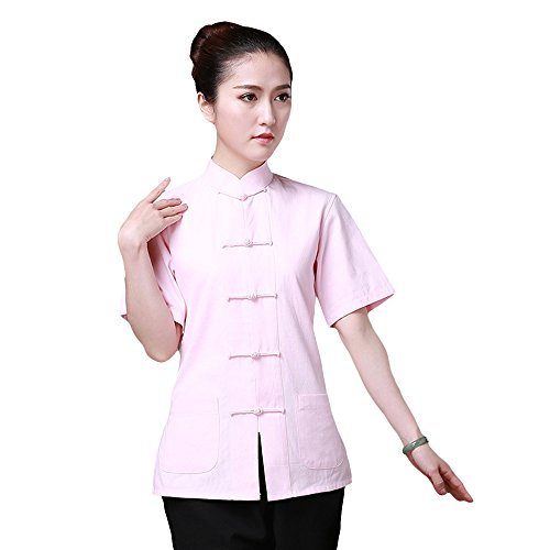 ZooBoo Chinese Traditional Clothing Dress - Tang Style Tai Chi Tang Suit Short-sleeved Martial Arts Kung Fu Uniforms Outfit Costume Suit Shirt Blouse Apparel Clothing for Women (Pink, M)