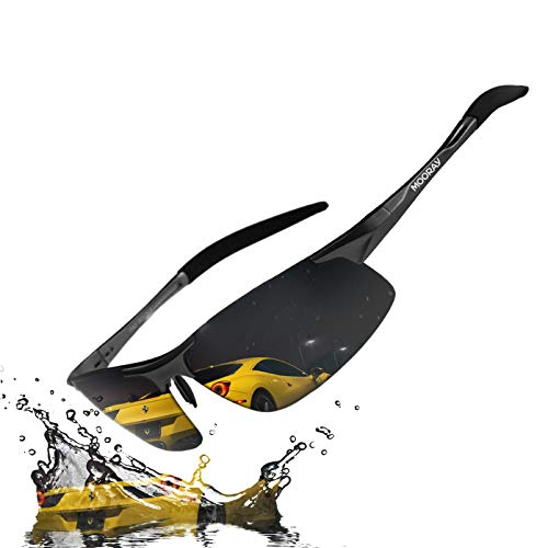 MOORAY Mens Sports Polarized Sunglasses UV Protection Fashion Sunglasses for Men Fishing Driving(Black,Black)