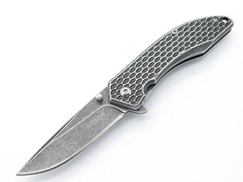 (Kershaw Kai 1316 Small Black Oxide Snake Skin Design Folding Framelock Pocket Knife Speedsafe Assisted Flipper)
