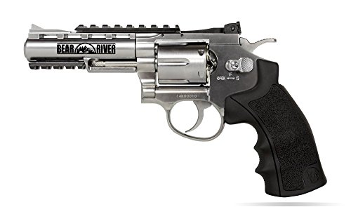 BB Gun Bear River Exterminator 4 inch Chrome Full Metal CO2 BB/Pellet Airgun Revolver .177 Cal Pistol Use Standard Pellets or BB Ammo