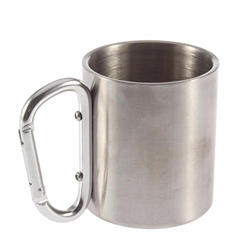 (Pawaca Stainless Bottle Cup/Pot|with Carabiner Handle,Camping, Hiking,Portable Climbing |Travel Cup-180 Ml)