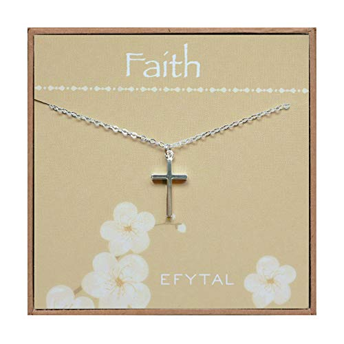 First Communion Cross Necklace - EFYTAL Sterling Silver Cross Necklace on Faith Card, First Communion Gift, Simple Confirmation Gifts for Religious Girl, Quinceañera Present