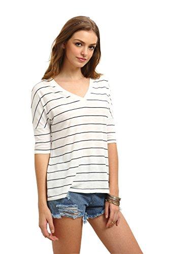 ROMWE Women's Half Sleeve V-Neck Striped T-Shirt Tops White (White Stripe V-neck Top)