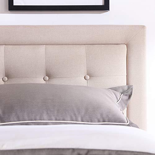 Mornington Upholstered Platform Bed | Headboard and Metal Frame with Wood Slat Support | Linen, King