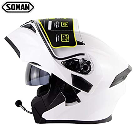 55~56cm AZCX Bluetooth Up Full Face Motorbike with Double Visor /· Crash Helmets Motorcycle Moped Scooter /· ECE Certified Free Extra Visor,White,S