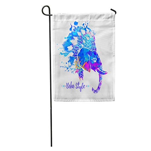 Semtomn Garden Flag Elephant Head American Indian Chief Headdress Feather for Websites Ethnic Home Yard House Decor Barnner Outdoor Stand 28x40 Inches Flag