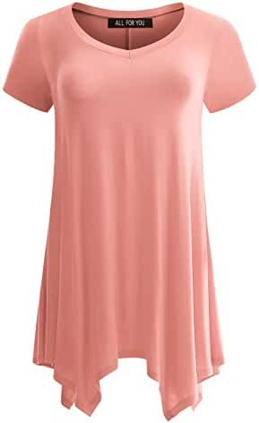ALL FOR YOU Women's Short Sleeve Tunic Tops With Side Pockets