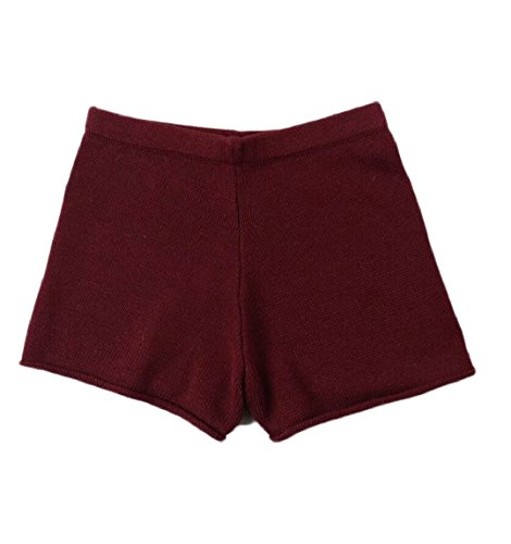 ainr Women's Elastic Waist Knit Summer Shorts Short Pants Wine Red S by ainr