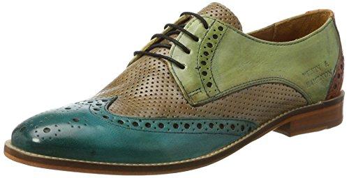 Melvin & HamiltonAmelie 3 - Zapatos Derby Mujer Mehrfarbig (Venice/ Venice Perfo/Venice/Venice SweetWater,Powder,VerdeChiaro,Arancio LS Nat.)
