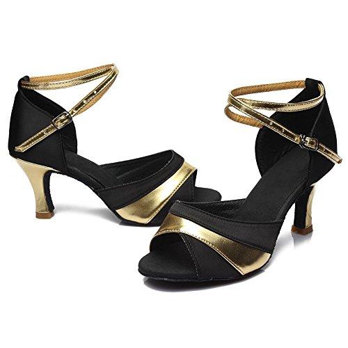 de ES806 Zapatos de de La Zapatos Zapatos Oro de 7CM Salón Modelo Mujeres Baile Danza de Baile HIPPOSEUS el Satén Latinos xqzUwpSfc