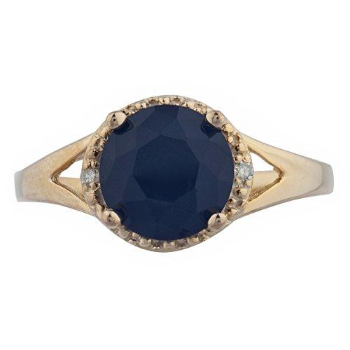 2 Ct Genuine Black Onyx & Diamond Halo Design Round Ring 14Kt Yellow Gold Rose Gold Silver