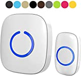 Wireless Doorbell for Home - SadoTech Waterproof Doorbell & Chimes Wireless Kit - At Over 1000-feet Range with 52 USA Doorbell Chime, 4 Levels Adjustable Volume and LED Flash Model C (White)