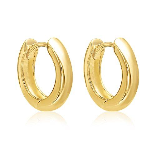 (MCS Jewelry 14 Karat Yellow Gold Small Huggie Hoop Earrings (Diameter: 13 mm))