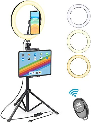 "UFULA Ring Light with Stand for Tablet Cell Phone, 10"" LED RingLight Tripod with Tablet Phone Holder, Selfie Circle Lamp Video Recording for Live Makeup YouTube TikTookay Zoom Meeting Online Teaching"