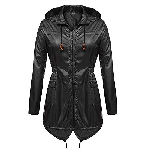 Toimoth Women's Lightweight Waterproof Zipper Hooded Raincoat Active Outdoor Rain Jacket Coat(Black,M) (Marshall Plastic Jacket)