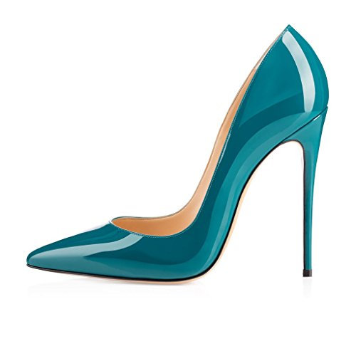 EDEFS Fashion Dark Shoes Womens Classic ASO Pointed Party Kate Pumps 120mm Handmade Stiletto Slim Green Toe Blue Heel AgAwqFr