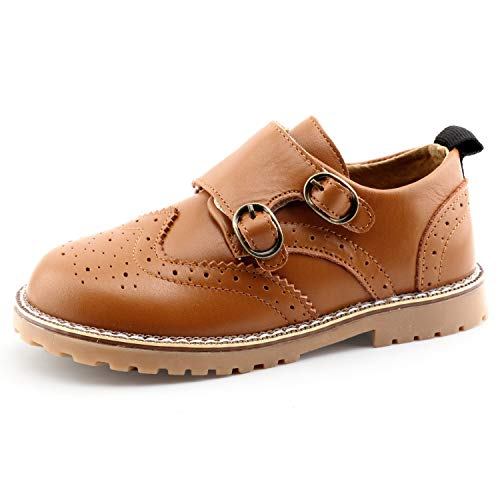 CCTWINS KIDS Toddler Little Kid Girl Boy Dress Oxford Leather Shoe(G9771-brown/velcro-22)