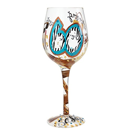 "Designs by Lolita ""60 and Sassy"" Hand-painted Artisan Wine Glass, 15 oz."