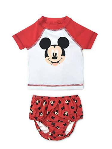 Newborn Boy UPF 50 Boy Mickey Mouse Rash Guard and Swim Diaper Cover 2 Piece Set 0-3M