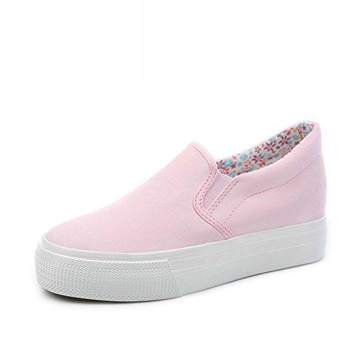Zapatos Mocasín,Mujer Perezosa Llevaba Lona,Zapato Mujer Joker Blanco,Alumnas En La Versión Coreana De La Altura Zapatos E