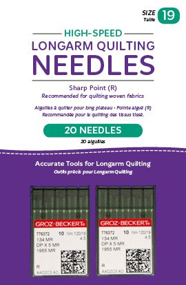 Handi Quilter Longarm Quilting Needles - High-Speed Sharp Point (R) Size 19 (Pack of 20)