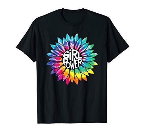 Womens Power Flower T-shirt - Girl Power Shirt Flower Tie Dye Hippie Female empower Gift T-Shirt