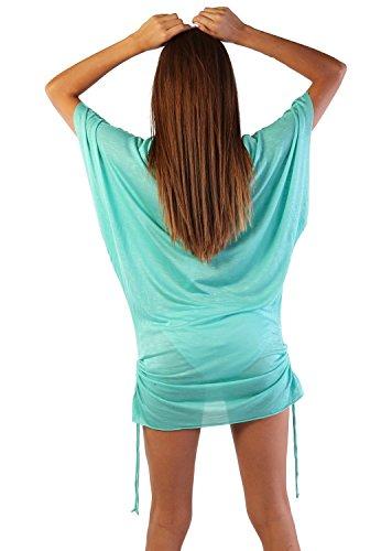 Ingear playa vestido de verano Casual Cover Up Fashion Chic blusa fabricado en EE. UU. Agua (Aqua)