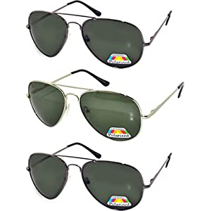 Classic Aviator Polarized Lens Sunglasses Colored Metal Frame Spring Hinge (avi_gold_blk_gun_pz_3p, Colored)