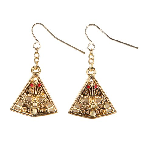 Egyptian Pyramid Golden Pewter Earrings Jewelry- Mystica Collection