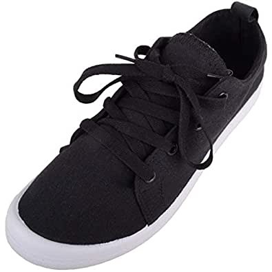 Absolute Footwear Womens Casual Lace Up Slip On Canvas Summer Trainers/Pumps/Shoes - Black - US 6