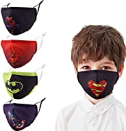 Kids Fabric Balaclava Bandana Cover,4Pcs Adjustable Reusable Washable Mask,Fashion Cotton Cloth for Face Prote